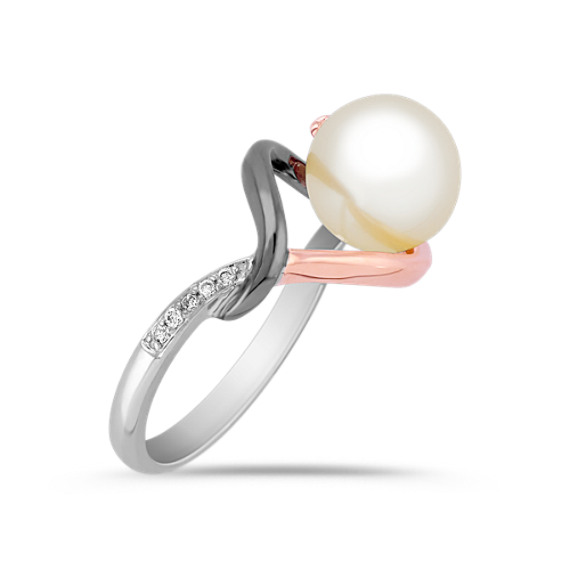 8.5mm Cultured Freshwater Pearl and Round Diamond Ring in 14k White and Rose Gold