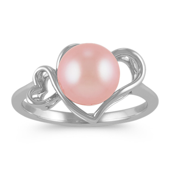8.5mm Pink Cultured Freshwater Pearl Heart Ring in Sterling Silver