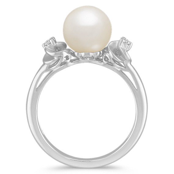 8mm Cultured Akoya Pearl and Diamond Ring
