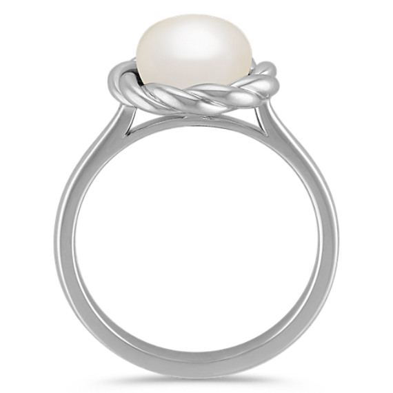 8mm Cultured Freshwater Pearl and Sterling Silver Twist Ring