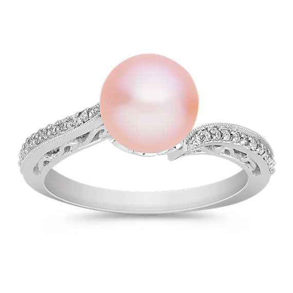 8mm Pink Cultured Freshwater Pearl and Diamond Ring