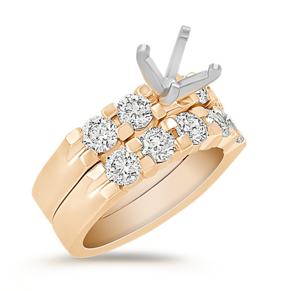 Aligned Round Diamond Wedding Set