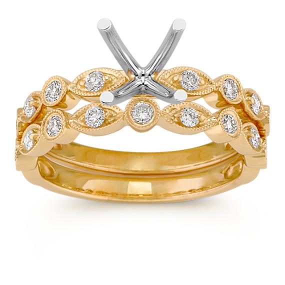 Alternating Bezel Set Round Diamond Wedding Set