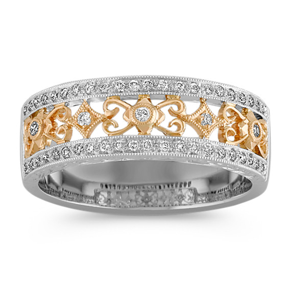 Antique Diamond Ring in Two-Tone Gold with Pavé Setting