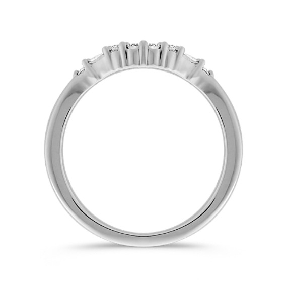 Baguette and Round Diamond Contour Wedding Band in 14k White Gold
