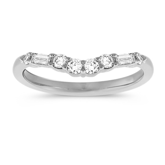 Baguette and Round Diamond Contour Wedding Band