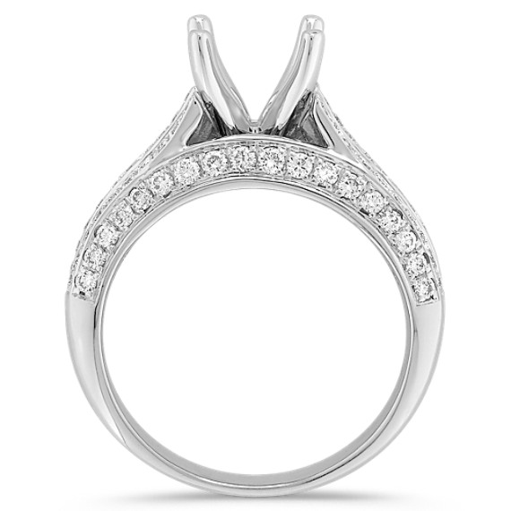 Baguette and Round Diamond Platinum Engagement Ring with Channel-Setting