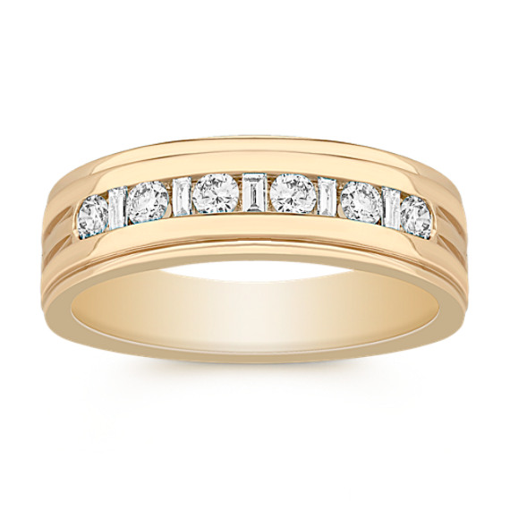 Baguette and Round Diamond Wedding Band for Him in 14k Yellow Gold