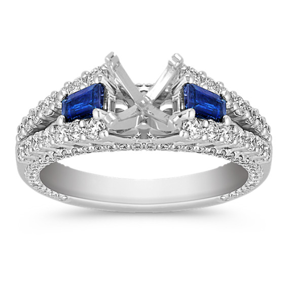 Baguette Sapphire and Diamond Engagement Ring