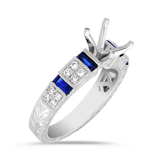 Baguette Sapphire and Round Diamond Engagement Ring in Platinum