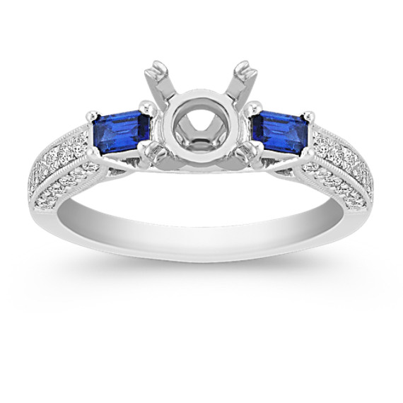Baguette Sapphire and Round Diamond Engagement Ring