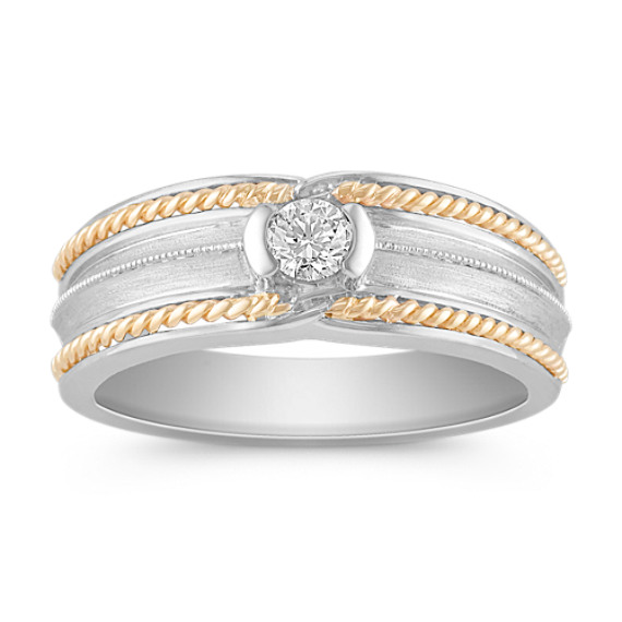 Bezel Set Diamond Ring in Two-Tone Gold with Satin Finish (8mm)