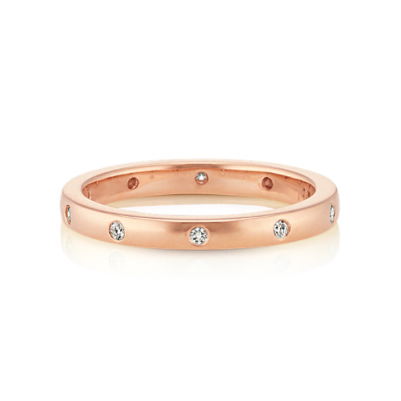 Bezel Set Diamond Wedding Band in 14k Rose Gold