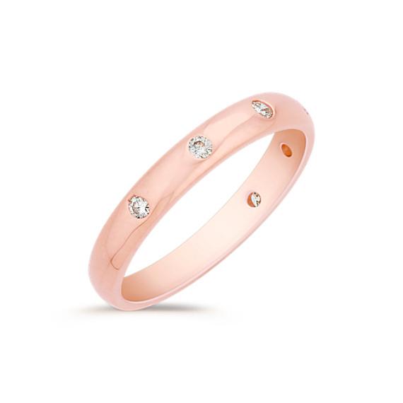 Bezel Set Diamond Wedding Band in Rose Gold