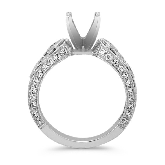 Bezel-Set Princess Cut and Round Diamond Engagement Ring