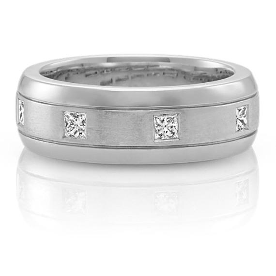 Bezel-Set Princess Cut Diamond Men's Ring in 14k White Gold (8mm)