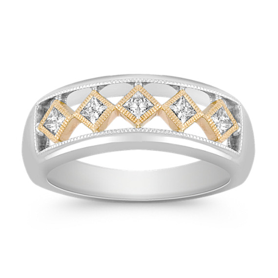 Bezel Set Princess Cut Diamond Ring in Two-Tone Gold