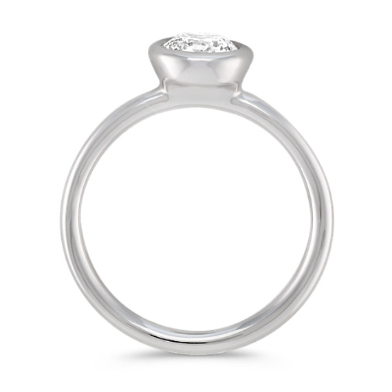 Bezel-Set Round Diamond Engagement Ring in Platinum