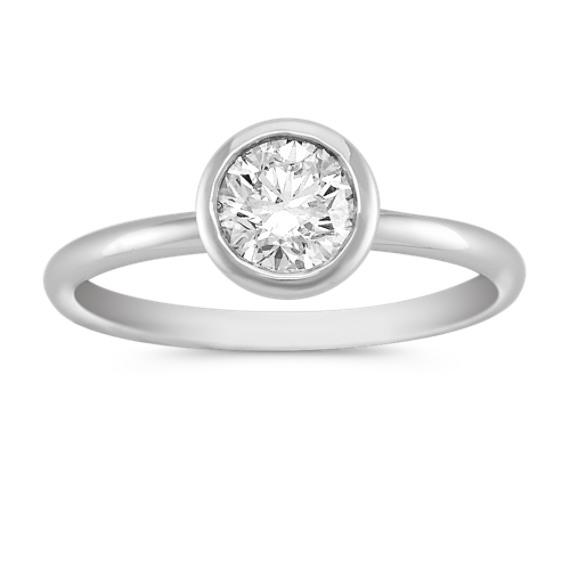 Bezel-Set Round Diamond Engagement Ring in Platinum