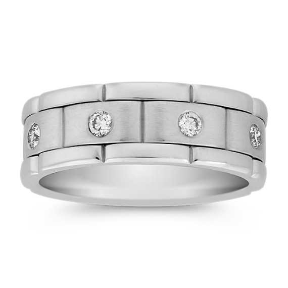 Bezel Set Round Diamond Linked Ring (8mm)