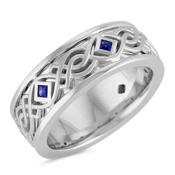 Bezel-Set Square Traditional Sapphire Ring with Celtic Design (8mm)