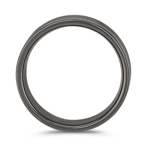 Black Concave Titanium Comfort Fit Ring (7.5mm)
