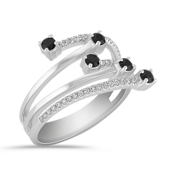 Black Sapphire and Diamond Ring