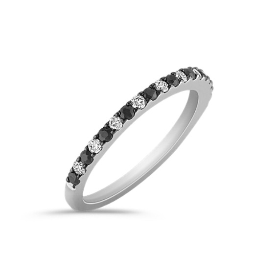 Black Sapphire and Diamond Wedding Band with Black Ruthenium