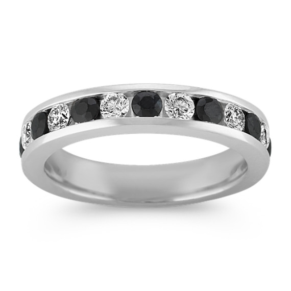 Black Sapphire and Diamond Wedding Band