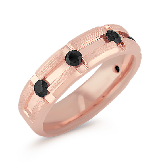 Black Sapphire and Rose Gold Ring with Channel Setting (7mm)