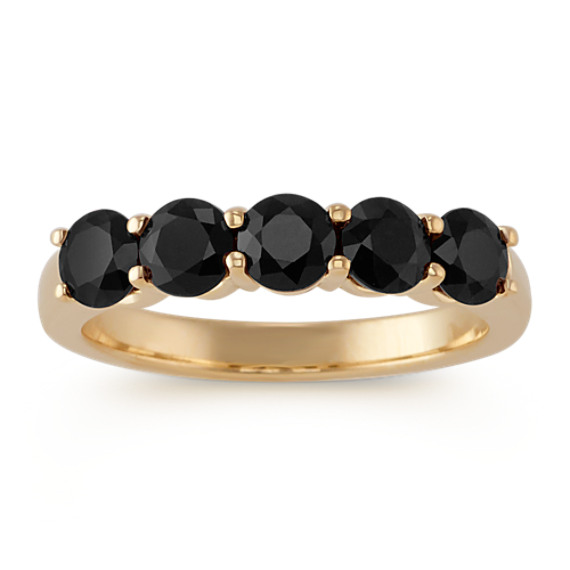 Black Sapphire Five-Stone Ring in 14k Yellow Gold