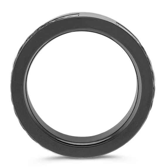 Black Stainless Steel and Carbon Fiber Ring