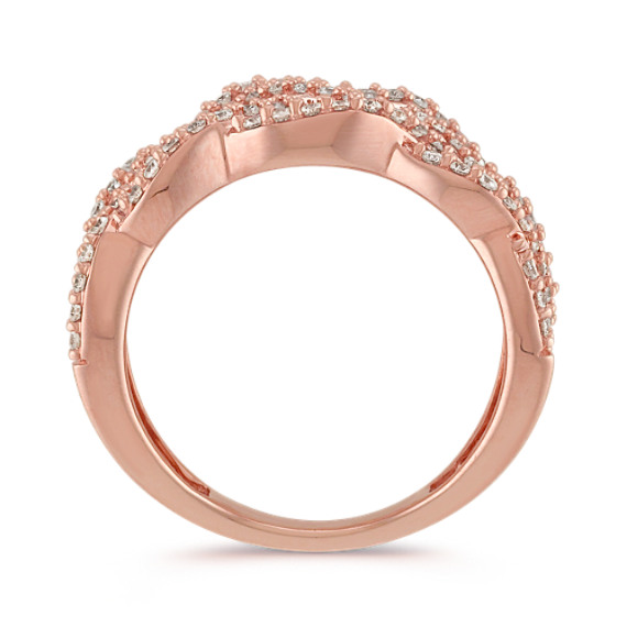 Braided Round Diamond Cluster Ring in 14k Rose Gold