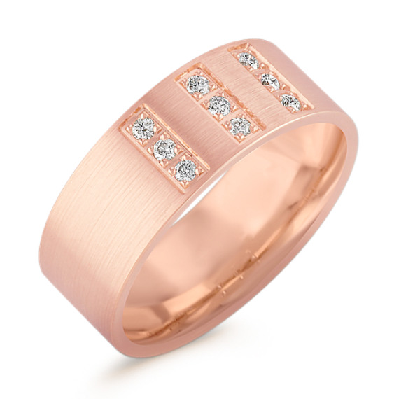 Brushed Diamond Ring in Rose Gold (8mm)