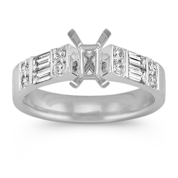 Cathedral Baguette and Round Diamond Engagement Ring