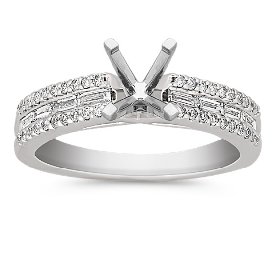 Cathedral Baguette and Round Diamond Pavé-Set Engagement Ring