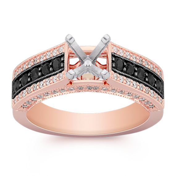 Cathedral Black Sapphire and Round Diamond Engagement Ring in Rose Gold with Black Ruthenium