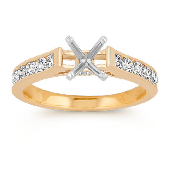 Cathedral Diamond Engagement Ring in 14k Yellow Gold
