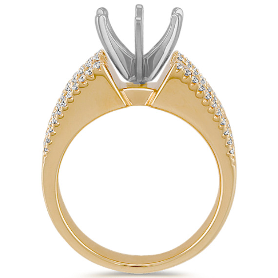 Cathedral Diamond Engagement Ring with Channel and Pavé-Setting