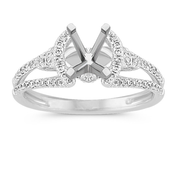 Cathedral Diamond Engagement Ring with Pavé Setting