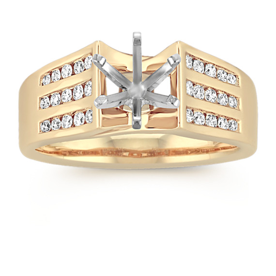 Cathedral Diamond Engagement Ring with Triple Row Channel Setting