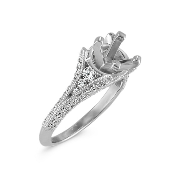 Cathedral Diamond Platinum Engagement Ring with Pavé Setting