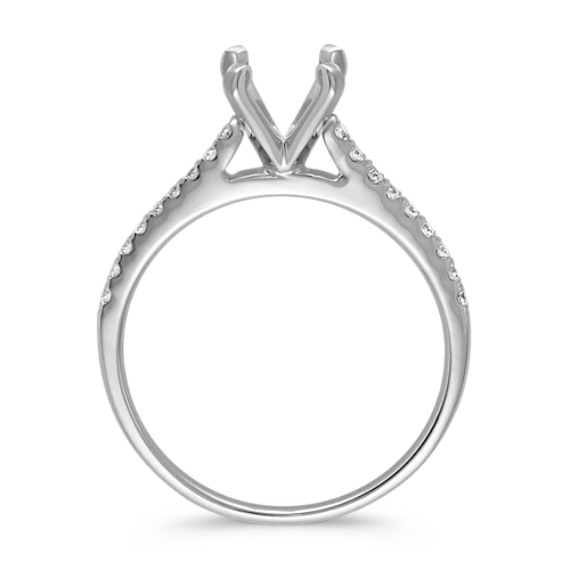 Cathedral Diamond Platinum Engagement Ring