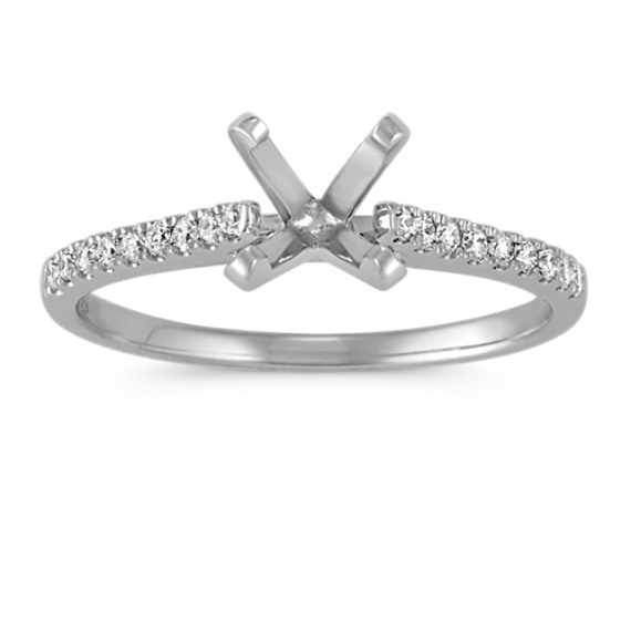 Cathedral Diamond Platinum Engagement Ring