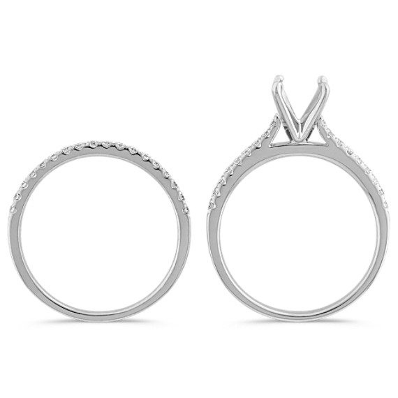 Cathedral Diamond Platinum Wedding Set