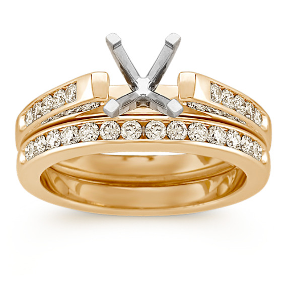Cathedral Diamond Wedding Set with Channel Setting in 14k Yellow Gold