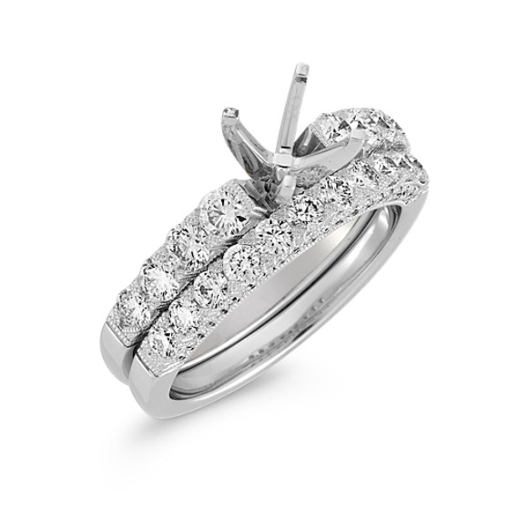 Cathedral Diamond Wedding Set with Pavé Setting