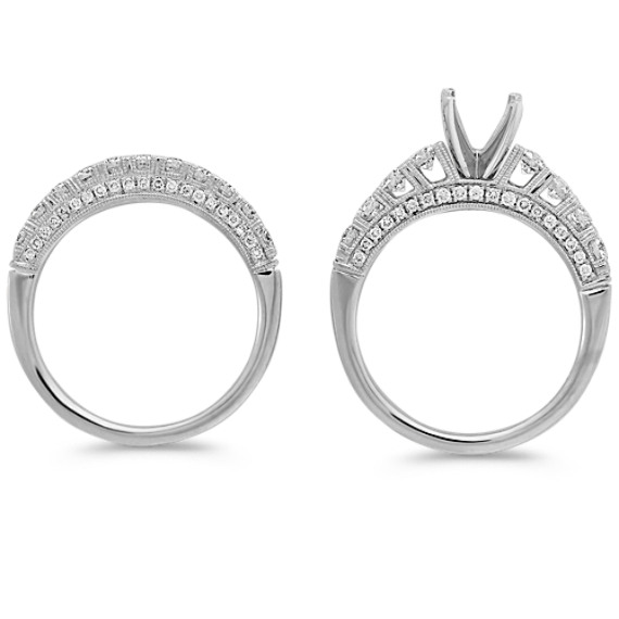Cathedral Diamond Wedding Set with Pavé Setting