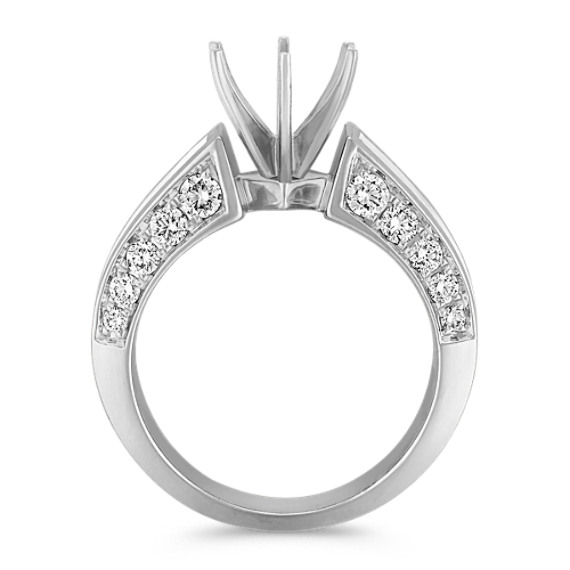Cathedral Princess Cut and Round Diamond Channel-Set Engagement Ring