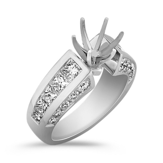 Cathedral Princess Cut and Round Diamond Engagement Ring with Channel Setting